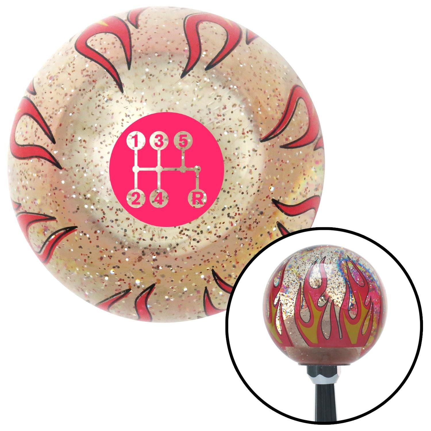Pink 5 Speed Shift Pattern - Dots 15 Clear Flame Metal Flake with M16 x 1.5 Insert American Shifter 295945 Shift Knob