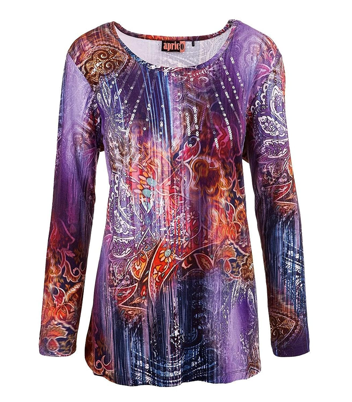 Aprico Mode Damen Shirt Langarm Pailletten Viskose Blau Lila Oliv 40 42 44 46 48