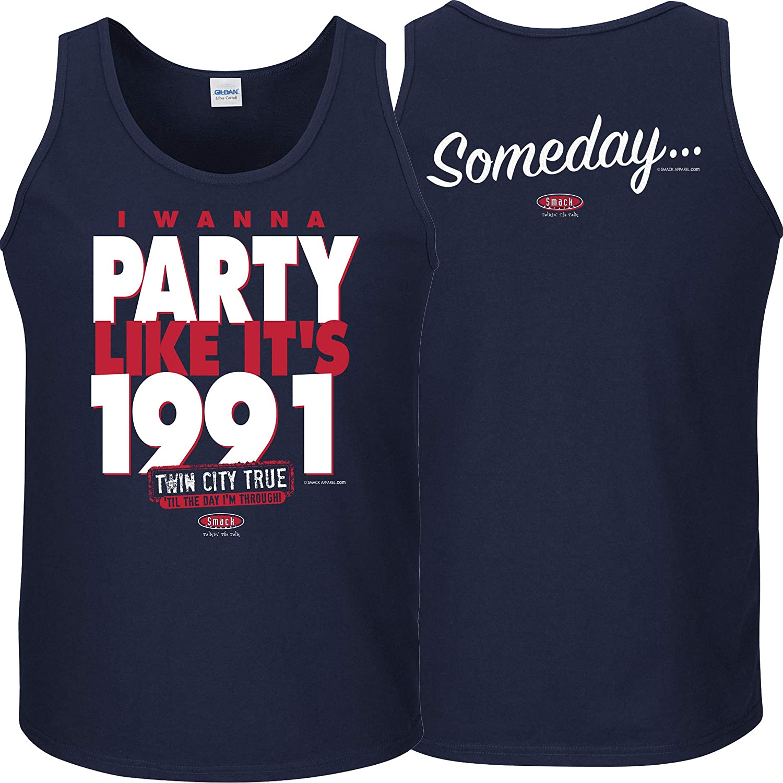 Sm-5X Smack Apparel Minnesota Baseball Fans I Wanna Party Like Its 1991 Navy T-Shirt