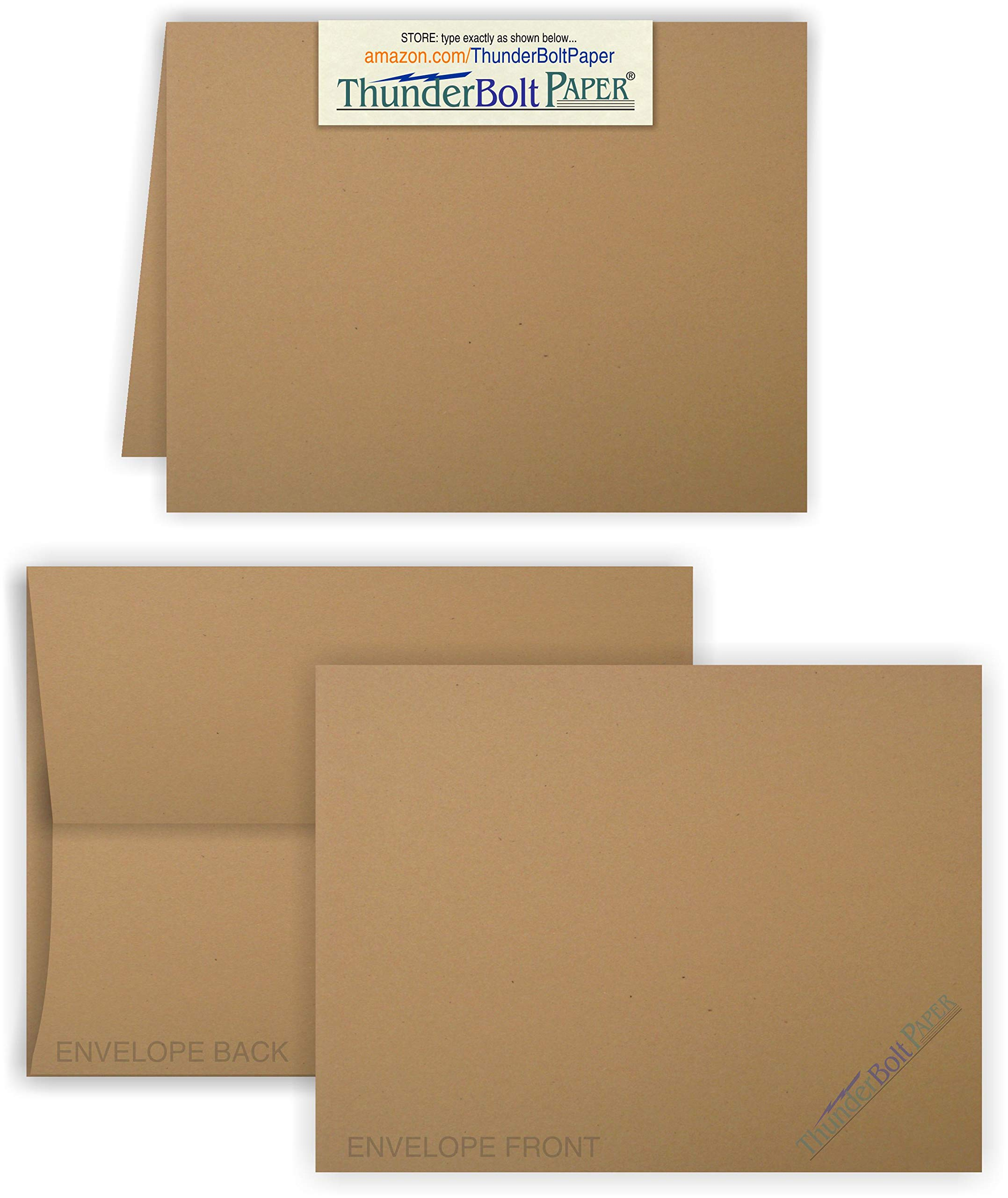 5X7 Folded Size with A-7 Envelopes -Brown Kraft Fiber - 50 Sets (7X10 Cards Scored to Fold in Half) Blank Pack -Invitations, Greeting, Thank Yous, Notes, Holidays, Weddings, Birthdays -80# Cardstock by ThunderBolt Paper