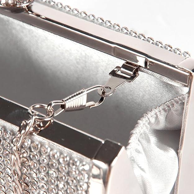 Anladia - Bolso de Fiesta Boda Salir para Mujer de Brillante Con Diamantes Bolso de Mano Color Plateado: Amazon.es: Zapatos y complementos