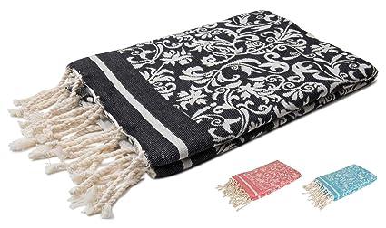 ZusenZomer Fouta Playa xxl con Flores Elegantes 100x200 Negro 100% Algodón - Toallas Hammam Diseño