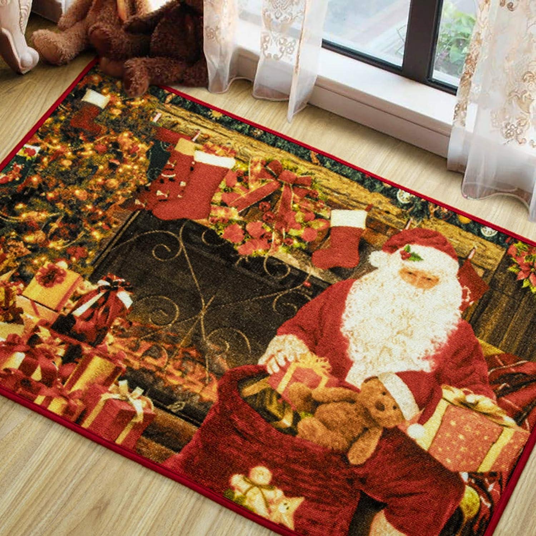 Amazon Com Lochas Premium Christmas Rug Santa Claus Area Rugs Non Slip Christmas Door Mat Welcome Carpet For Bedroom Living Room Home Xmas Holiday Decor 2x3 Feet Kitchen Dining