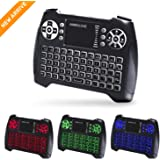 (Updated 2018 3-Color RGB) Backlit Wireless Mini Keyboard with Touchpad Mouse and Multimedia Keys 2.4Ghz USB Rechargable Handheld Remote Control Keyboard for PC HTPC X-BOX Android TV BoxSmart TV