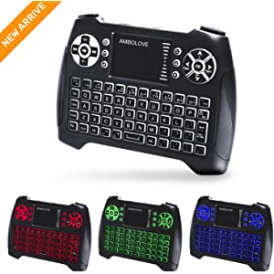 Backlit Wireless Mini Keyboard with Touchpad Mouse and Multimedia Keys, 2.4Ghz USB Rechargable Handheld