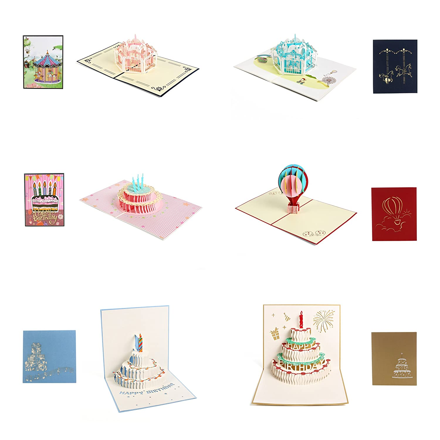 6-Pack Greeting Cards for Birthday, Maternity, Baby Shower and Christening, Baptism, First Communion, Birthday Cake, Carrousel, Balloon 3D Pop up Cards from OnePlace Gifts