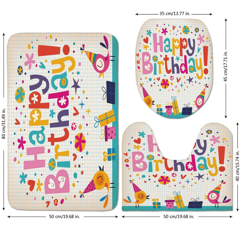 3 Piece Bathroom Mat Set,Birthday-Decorations-for-Kids,School-Math-Note-Pad-Floral-Rainbow-Colored-Party-Quote-Print,Multicolor.jpg,Bath Mat,Bathroom Carpet Rug,Non-Slip