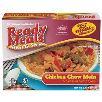 Ready Meals, Chicken Chow Mein Served with Rice in Gravy (Ready to Eat,  Microwavable, Shelf Stable, No
