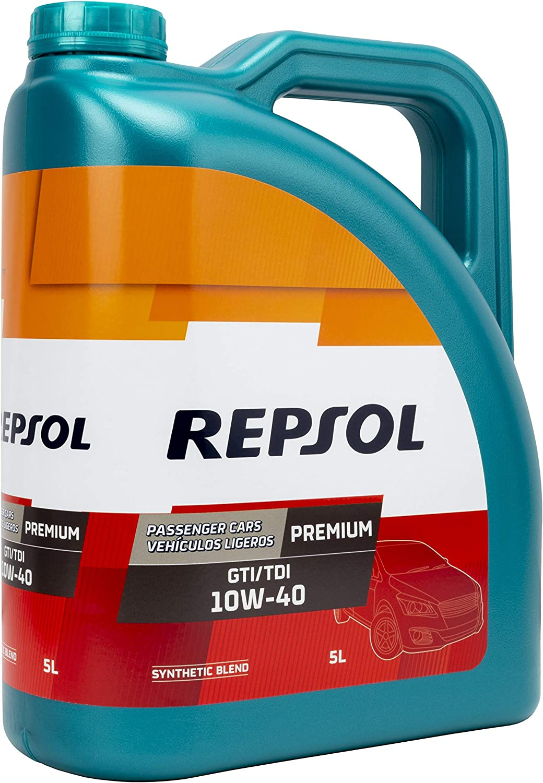REPSOL ACEITE DE MOTOR PREMIUM GTI/TDI 10W40 5 Litros, Multicolor, 5 L