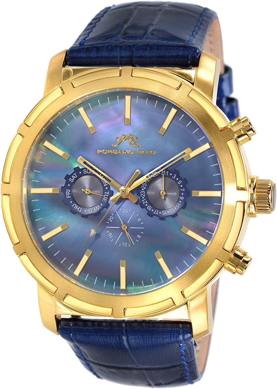 Porsamo Bleu Luxury NYC Genuine Leather Gold Tone Blue Men s Watch 056BNYL