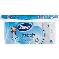 Zewa samtig Toilettenpapier, extra sanftes WC-Papier 3-lagig mit innovativer Kombilagen-Qualität, 1 x Vorratspack mit 8 Rollen