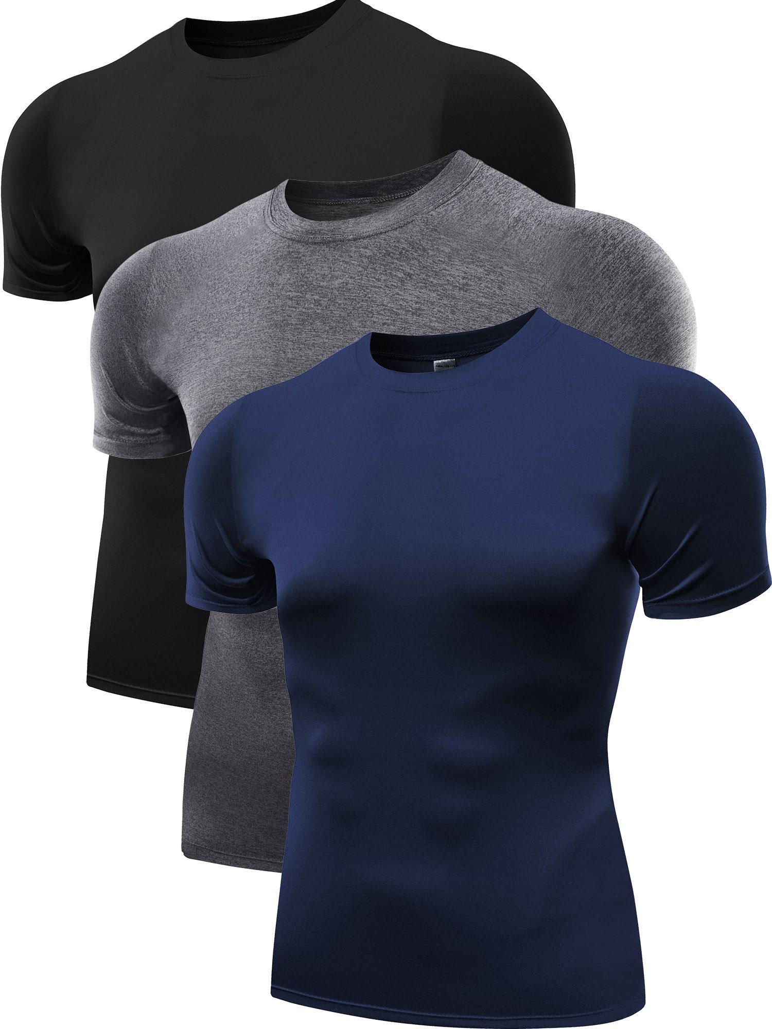 Neleus Men's 3 Pack Cool Dry Compression Baselayer Athletic T Shirts,5011,Navy Blue,Grey,Black,M,EUR L by Neleus