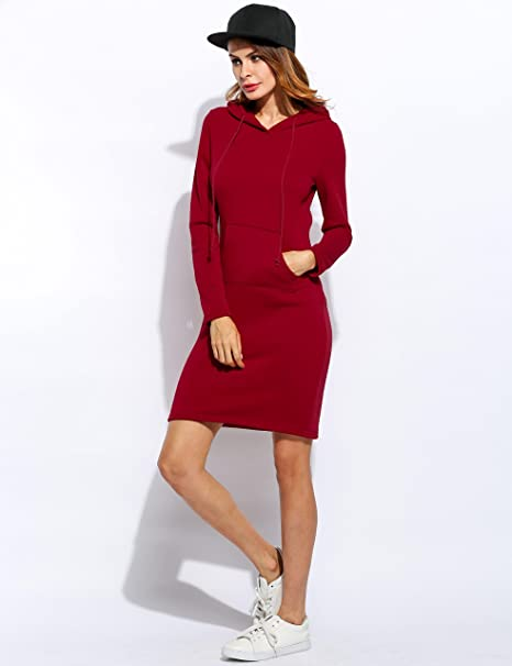 Womens Casual Bodycon Pencil Hoodie Dress Long Sleeve Pullover Sweatshirt With Pockets at Amazon Womens Clothing store: