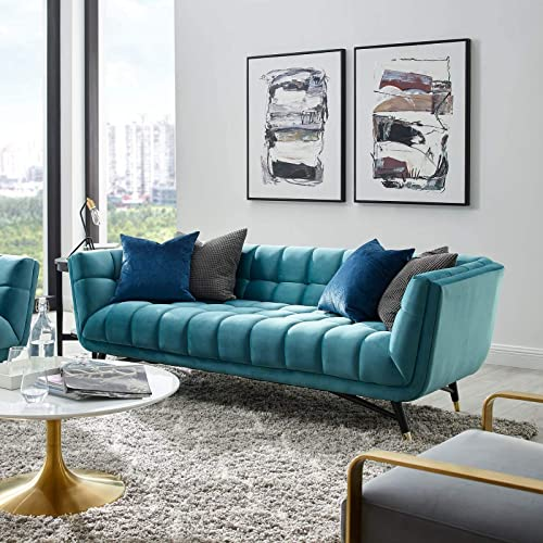 Modway Adept Contemporary Mid-Century Modern Performance Velvet Upholstered Tufted Sofa in Sea Blue