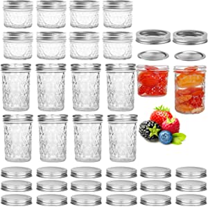 16 Pack Mason Jars,Canning Jars, Jelly Jars With Regular Lids, Ideal for Jam, Honey, Baby Foods,Pickling, Preserving, Craft and Dry Food Storage,Spice Jars - 4 OZ x 8, 8 OZ x 8