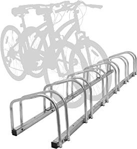 Hromee Bike Floor Parking 1-6 Rack Adjustable Bicycle Storage Organizer Stand for Garage, Silver