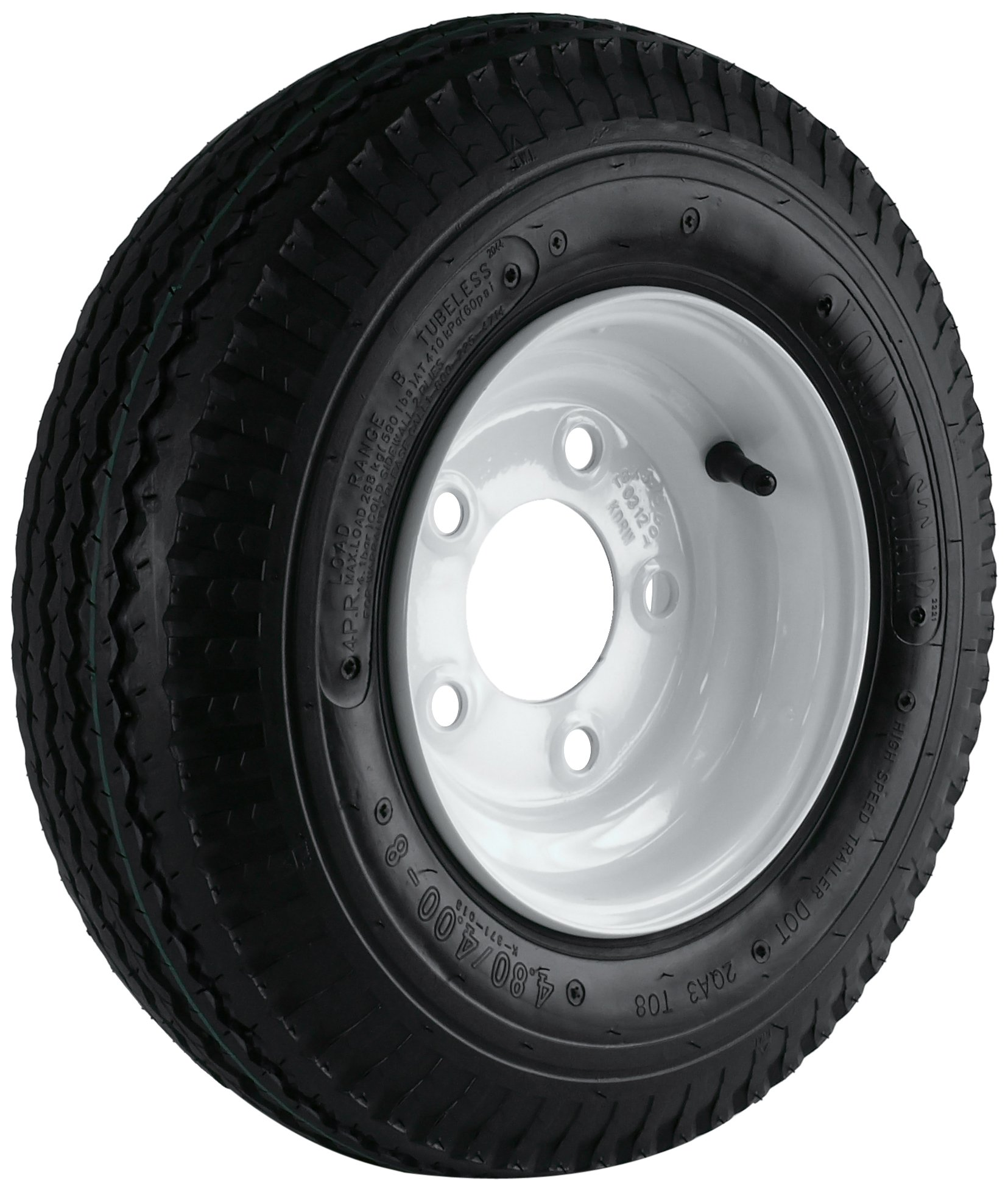 Kenda Loadstar (8x3.75/5x4.5) Wheel with White Powder-Coat Pinstripe Finish LRB and Trailer Tire Assembly (480/400-8)