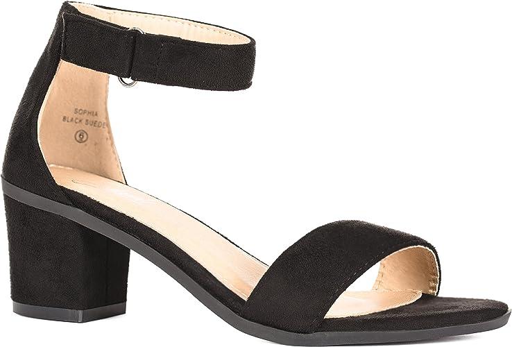 Solemate Women's Ankle Strap Kitten Heel Sandal – Comfortable Cute Low Block Heeled Sandals – Sophia