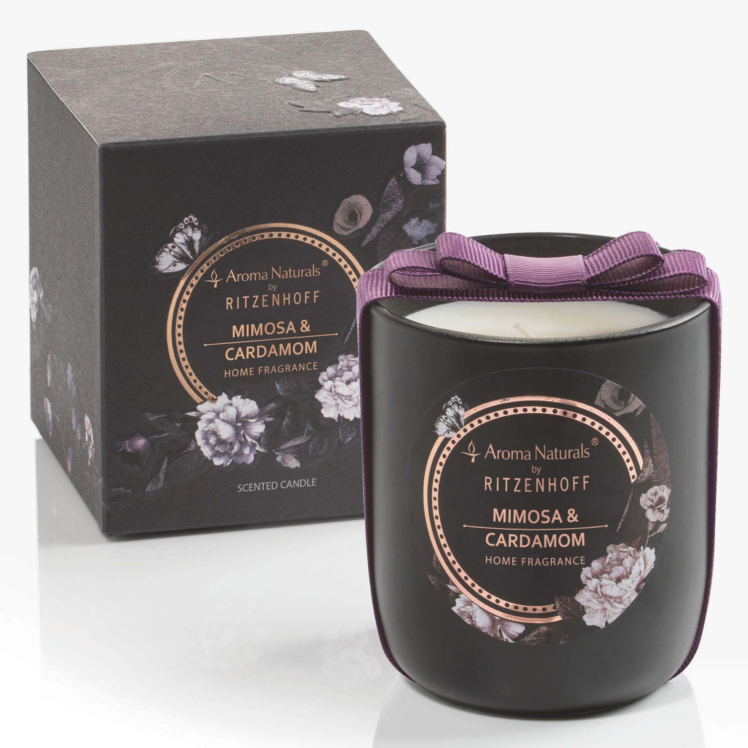 RITZENHOFF Aroma Naturals Noir Scented Candle Mimosa & Cardamom Supplied in a Gift Pouch Unique Jewellery