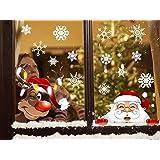 fensterbilder neugieriger weihnachtsmann und rudolph das rentier mit 28 schneeflocken. Black Bedroom Furniture Sets. Home Design Ideas
