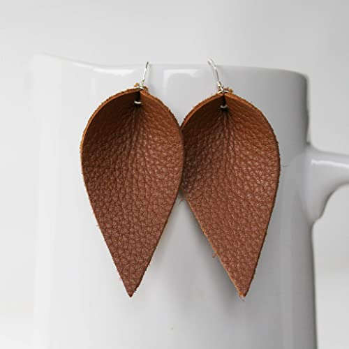 c2fdddbb1b6a6c Amazon.com: Genuine Leather & Sterling Silver Leaf Earrings // Brown ...