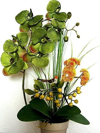 Orchideen im Topf Kunstblumen Tischdeko Künstliche Blumen Deko Dekoration K47