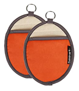 Cuisinart Silicone Oval Pot Holders and Oven Mitts - Heat Resistant, Handle Hot Oven / Cooking Items Safely - Soft Insulated Pockets, Non-Slip Grip and Convenient Hanging Loop- Rust, Pack of 2 Mitts