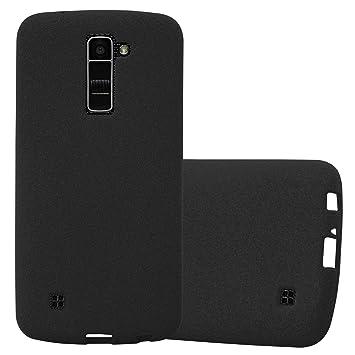 Cadorabo Funda para LG K10 2016 en Frost Negro - Cubierta Proteccíon de Silicona TPU Delgada e Flexible con Antichoque - Gel Case Cover Carcasa Ligera