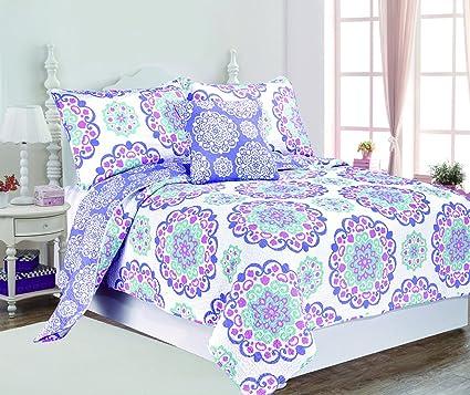 Superb Design Studio QLTSETWDEC04 PPL Cotton 3 Piece Vivian Quilt Set, Twin, Purple