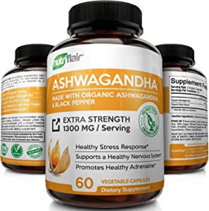 Organic Ashwagandha Capsules with Black Pepper 1300MG - Natural Root Powder Supplement for Stress & Anxiety Relief, Mood Enhancer, Immune, Energy, Thyroid Support, Adrenal Support (60 Veggie Capsules)