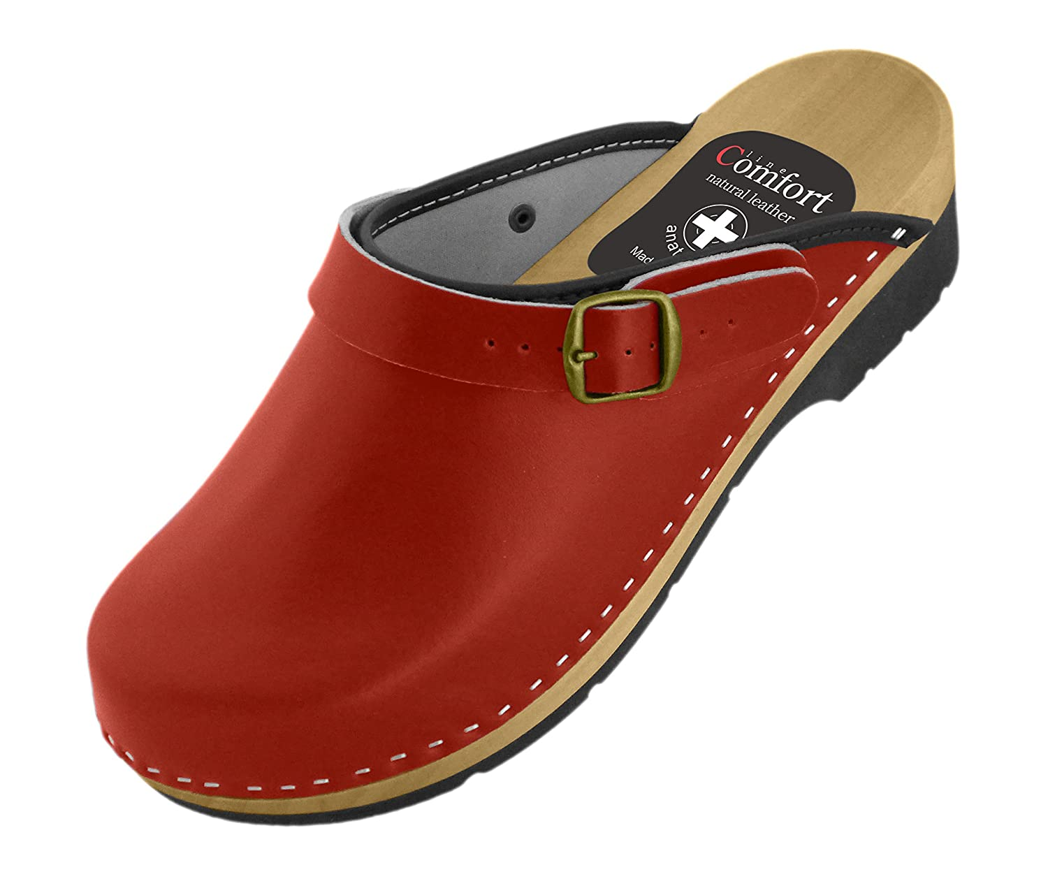Women's Natural Leather Clogs with Buckle/Back Strap, Various Colors