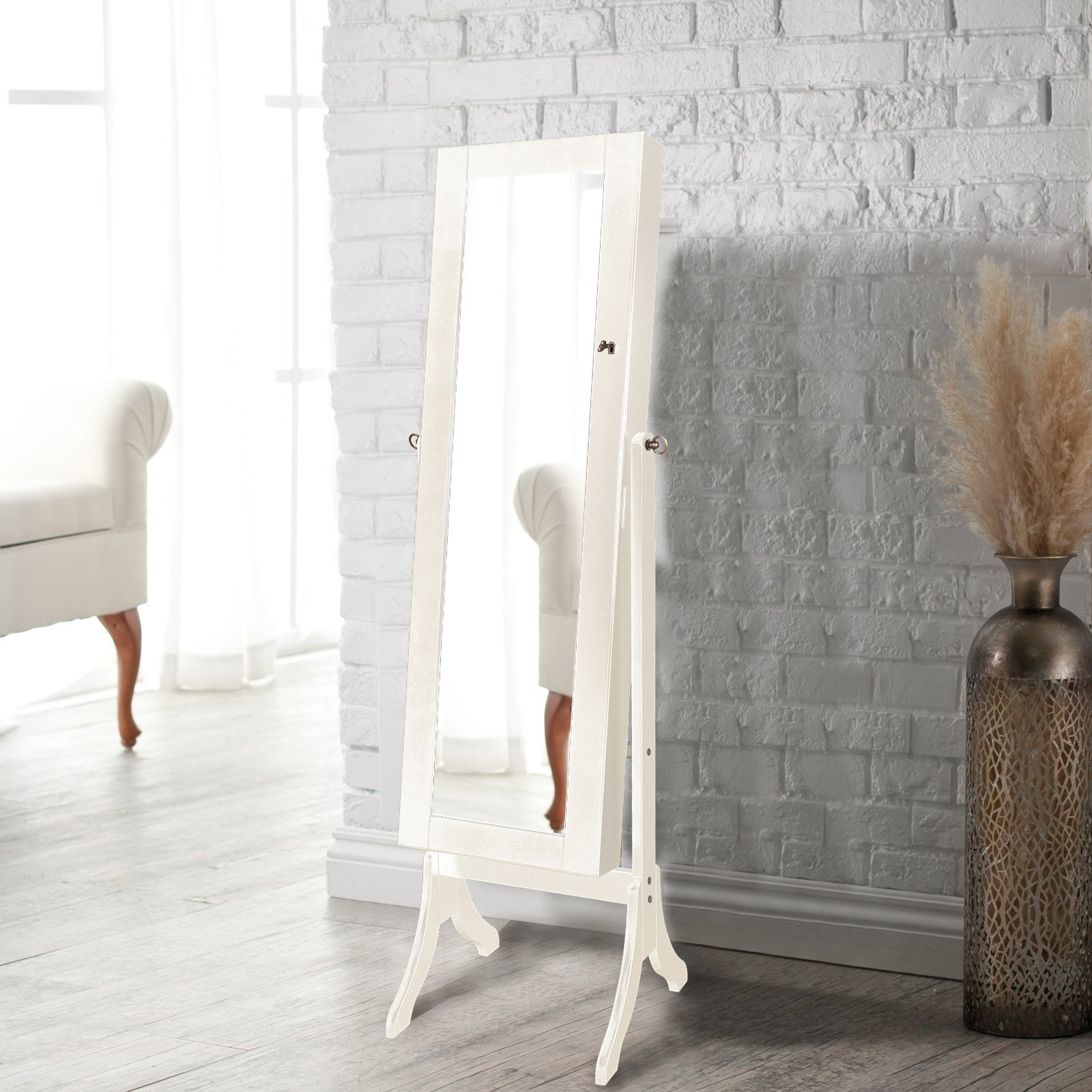 Lux Home Standing Jewelry Armoire with Mirror (Ivory)
