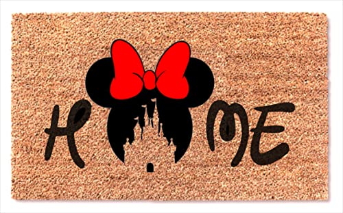 Minnie Mouse Red Bow Welcome Door Mat Home Decor Funny Doormat Wedding Anniversary Birthday Gift