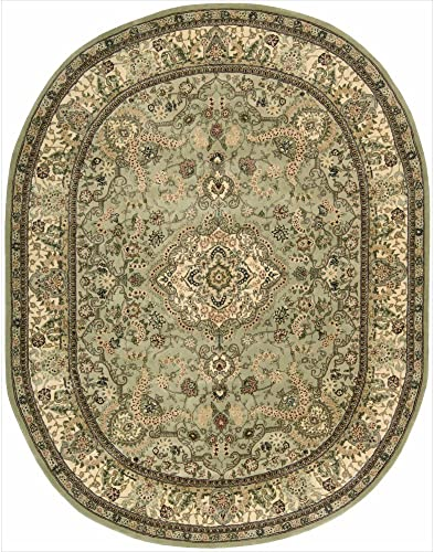 Nourison Nourison 2000 2005 Light Green Oval Area Rug, 7-Feet 6-Inches by 9-Feet 6-Inches 7 6 x 9 6