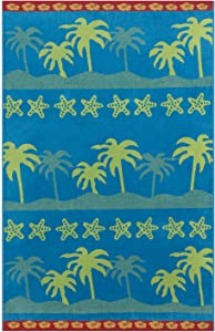 Espalma Oversized Luxury Palm Tree Stripe Beach Towel, Large Size 70 Inch x 40 Inch Soft Velour and Reversible Absorbent Cotton Terry, Thick and Plush Jacquard Beach Towel, Palm Tree Stripe