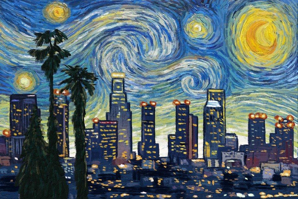 【テレビで話題】 ロサンゼルス、カリフォルニア – スカイライン x – Van – Gogh Starry Print Night 15oz Mug LANT-3P-15OZ-WHT-77489 B07B2CKLWG 16 x 24 Signed Art Print 16 x 24 Signed Art Print, ディスカウント みやこ:0db16dbc --- podolsk.rev-pro.ru