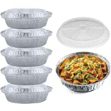 55 Pack - 7 Inch Round Aluminum Pans, with Clear Plastic Lids. Round Tins for Baking and Food Transport. Round Foil Pans…