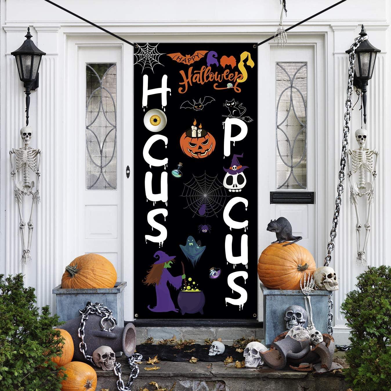 WEBSUN Halloween Door Decorations Hocus Pocus Door Cover, Large Fabric Halloween Party Decorations Sign for Front Door, Porch Decorations, Halloween Party Supplies Indoor Outdoor