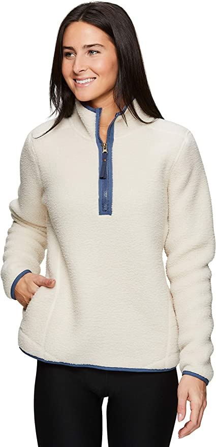 Avalanche Womens Midweight Knit 1//4 Zip Pullover Sweatshirt With Zip Pocket