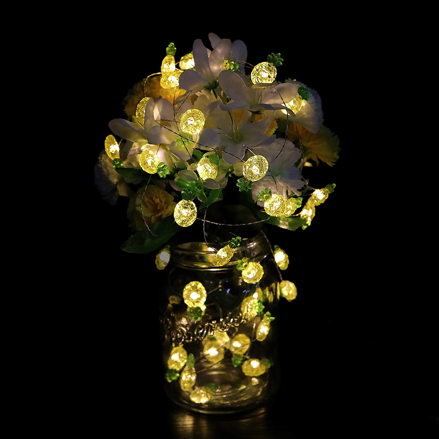 Living Room DIY Wreathe Ornamental Lightingift Pineapple String Lights Patio Birthday Party Remote, Warm White 13.5 Ft 40 LED Tropical Theme Lights Battery Operated Fairy Lights for Wedding