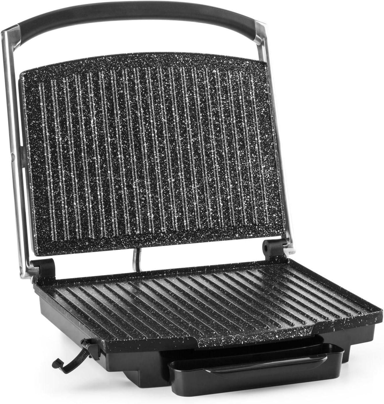 KLARSTEIN Edelstein Grill Multifonction, Presse à paninis, Température réglable en continu jusqu'à 240 °C, 2000W, INOX
