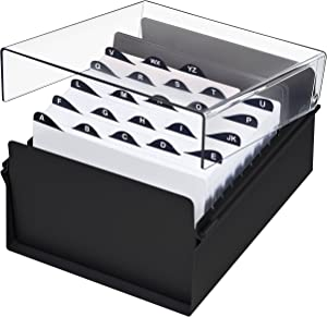 Acrimet 5 X 8 Card File Holder Organizer Metal Base Heavy Duty (AZ Index Cards and Divider Included) (Black Color with Clear Crystal Plastic Lid Cover)