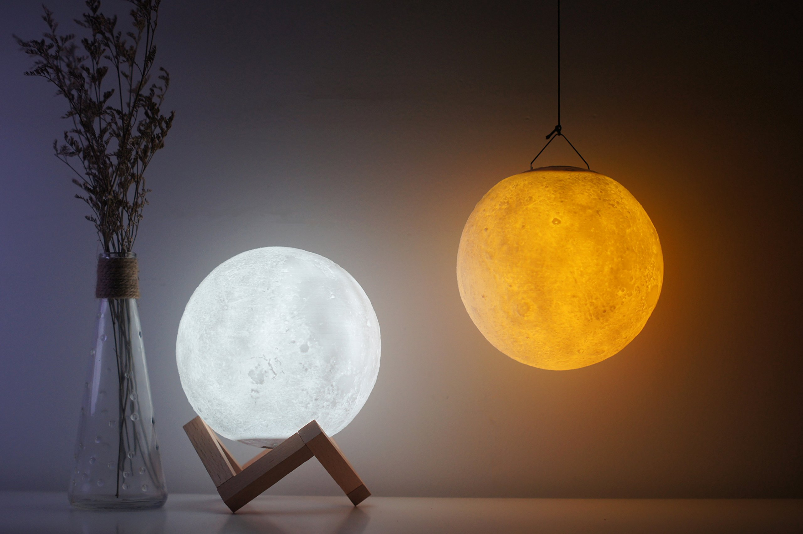 3D Moon Lamp,USB LED Night Light Magical Lunar Table Lamp Moonlight,Yellow Warm and White 3 Colors Change Tapping Control,Home Decorative Lights Baby Nursery Lamp for Kid Bedroom (15cm/ 5.9 inch)