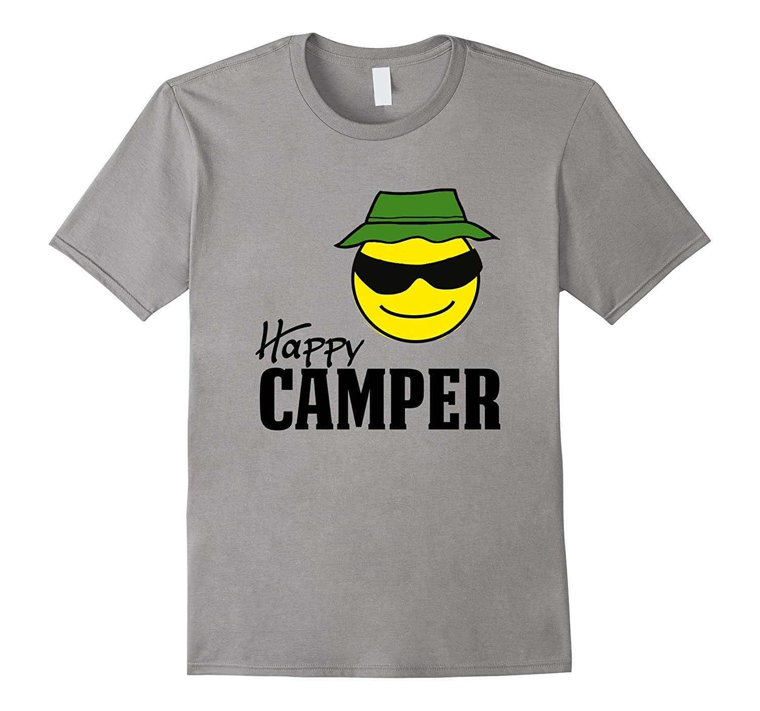 happy camper smiley face bucket hat camping outdoors t. Black Bedroom Furniture Sets. Home Design Ideas