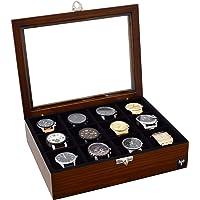 Porta-Relógios Total Luxo Madeira Maciça 12 Divisórias