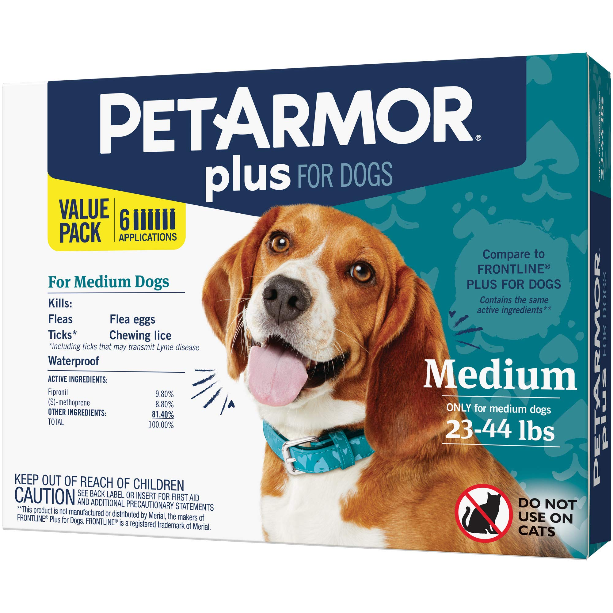 PETARMOR Plus for Dogs Flea and Tick Prevention for Medium Dogs (23-44 Pounds), Long-Lasting & Fast-Acting Topical Dog Flea Treatment by PETARMOR