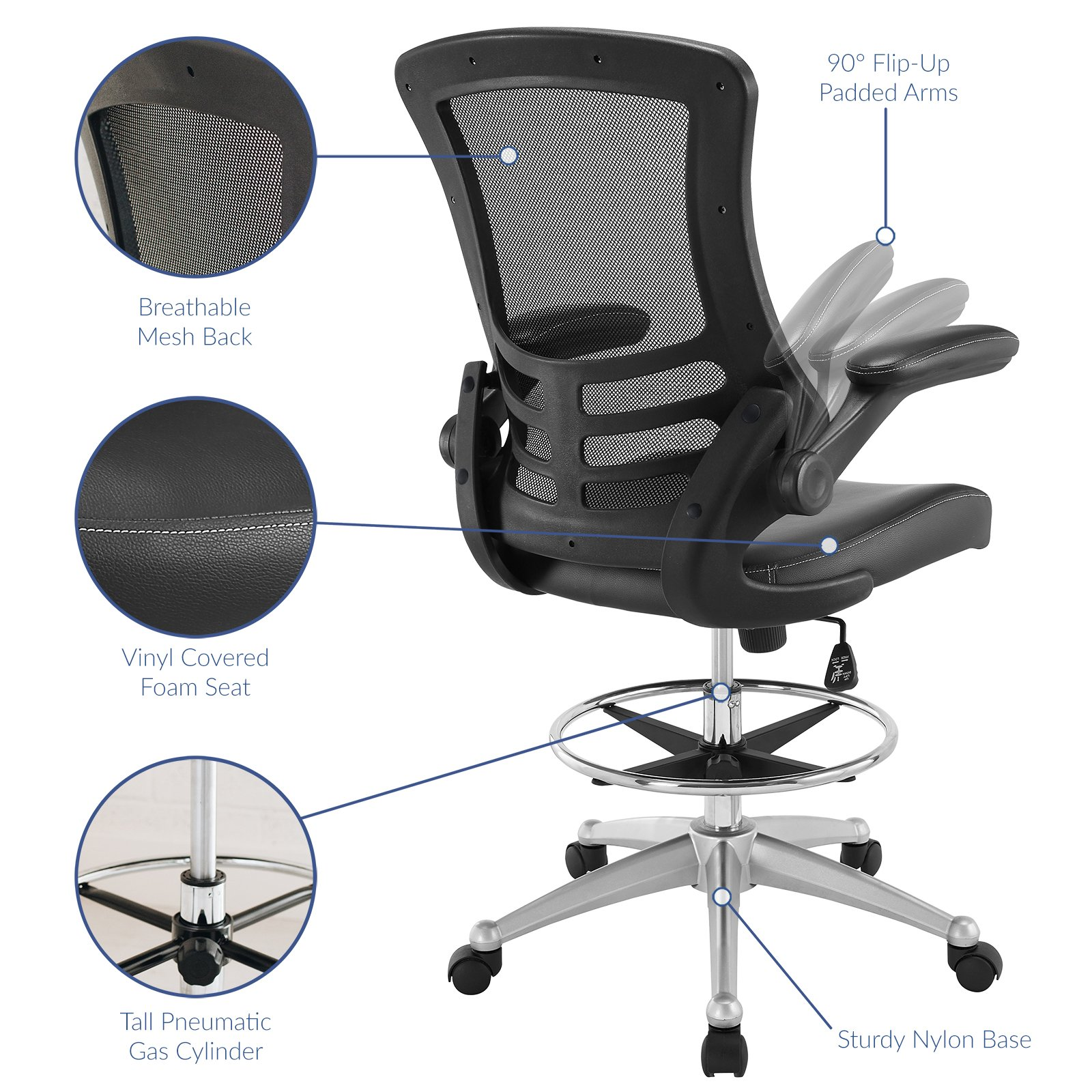 Modway Attainment Drafting Chair In Black   Reception Desk Chair   Tall  Office Chair For Adjustable Standing Desks   Flip Up Arm Drafting Table  Chair