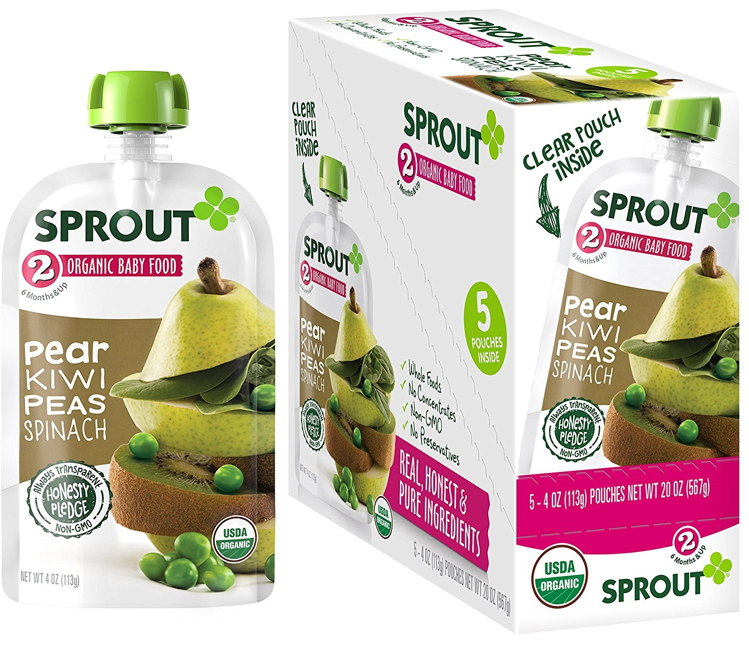 Sprout Organic Baby Food Pouches Stage 2 Sprout Baby Food, Pear Kiwi Peas Spinach, 4 Ounce (Pack of 5); USDA Organic, Non-GMO, Made with Whole Foods, No Preservatives, Nothing Artificial
