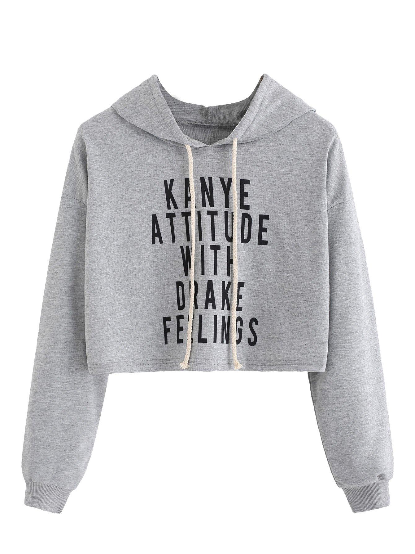 MakeMeChic Women's Letter Print Crop Top Sweatshirt Pullover Hoodie Grey S