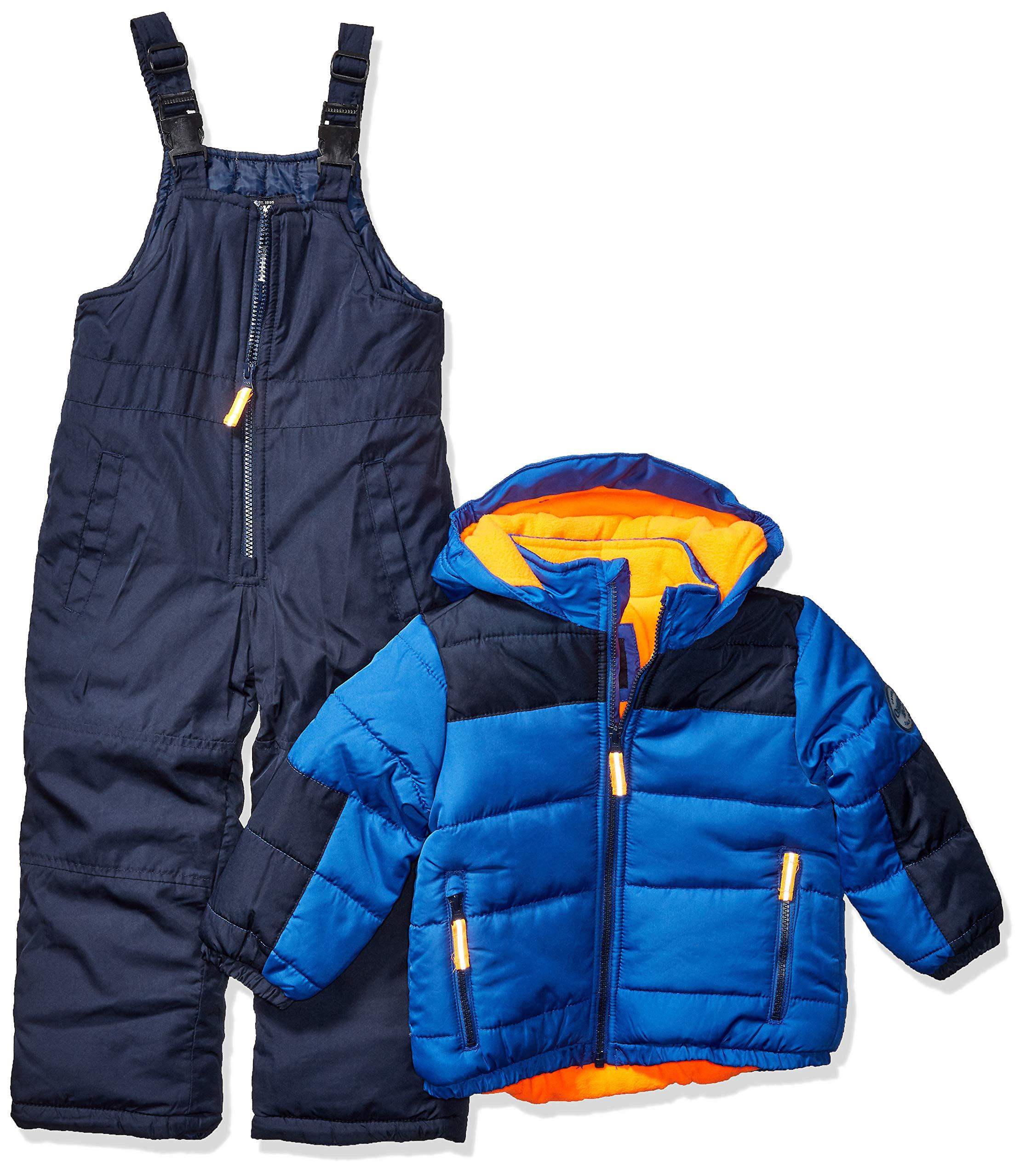 Osh Kosh Boys' Little Ski Jacket and Snowbib Snowsuit Set, Wedgewood Blue/Deep Navy, 7 by OshKosh B'Gosh